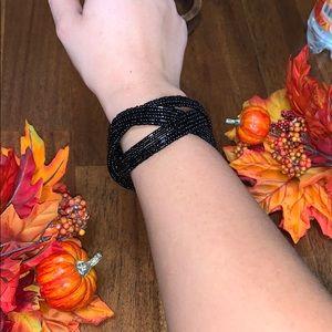 Black beaded bangle adjustable bracelet cute fun